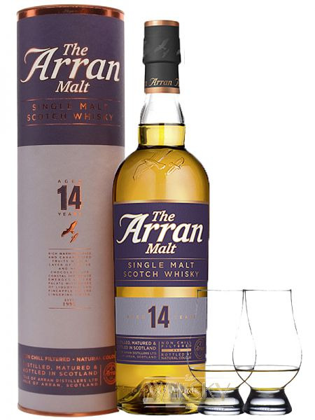 Arran 14 Jahre Single Malt Whisky 07 Liter 2 Glencairn Gläser