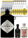 Gin-Set Hendricks Gin Small Batch 0,7 Liter + Black Gin Gansloser Deutschland 5cl + Siegfried Dry Gin Deutschland 4cl + 6 x Thomas Henry Tonic Water 0,2 Liter, 6 x Goldberg Tonic Water 0,2 Liter