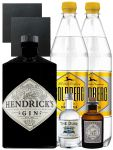 Gin-Set Hendricks Gin Small Batch 0,7 Liter + The Duke München Dry Gin 5 cl + Monkey 47 Schwarzwald Dry Gin 5 cl MINIATUR + 2 x Goldberg Tonic Water 1,0 Liter + 2 Schieferuntersetzer quadratisch 9,5 cm