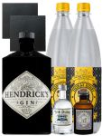 Gin-Set Hendricks Gin Small Batch 0,7 Liter + The Duke München Dry Gin 5 cl + Monkey 47 Schwarzwald Dry Gin 5 cl MINIATUR + 2 x Thomas Henry Tonic Water 1,0 Liter + 2 Schieferuntersetzer quadratisch 9,5 cm