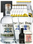 Gin-Set The Duke München Dry BIO Gin 0,7 Liter + Black Gin 5cl + Siegfried Dry Gin 4cl + 6 x Thomas Henry Tonic Water 0,2 Liter, 6 x Goldberg Tonic Water 0,2 Liter + 2 Schieferuntersetzer quadratisch 9,5 cm + 2 x The Duke Long Drink Glas 0,3 Liter