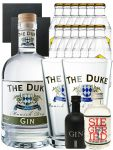 Gin-Set The Duke München Dry BIO Gin 0,7 Liter + Black Gin Gansloser Deutschland 0,05 Liter + Siegfried Dry Gin Deutschland 4cl + 12 x Goldberg Tonic Water 0,2 Liter + 2 Schieferuntersetzer quadratisch 9,5 cm + 2 x The Duke Long Drink Glas 0,3 Liter