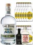Gin-Set The Duke München Dry BIO Gin 0,7 Liter + Black Gin Gansloser Deutschland 0,05 Liter + Siegfried Dry Gin Deutschland 4cl + 12 x Goldberg Tonic Water 0,2 Liter