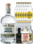 Gin-Set The Duke München Dry BIO Gin 0,7 Liter + Black Gin Gansloser Deutschland 0,05 Liter + Siegfried Dry Gin Deutschland 4cl + 6 x Thomas Henry Tonic Water 0,2 Liter, 6 x Goldberg Tonic Water 0,2 Liter