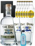 Gin-Set The Duke München Dry BIO Gin 0,7 Liter + Nordes Atlantic Gin 0,05 Liter Miniatur + 6 Goldberg Tonic Water 0,2 Liter + 2 Schieferuntersetzer quadratisch 9,5 cm + 2 x The Duke Long Drink Glas 0,3 Liter