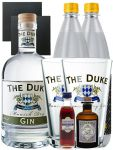 Gin-Set The Duke München Dry BIO Gin 0,7 Liter + Haymans Sloe Gin 5cl + Monkey 47 Schwarzwald Dry Gin 5 cl MINIATUR + 2 x Thomas Henry Tonic Water 1,0 Liter + 2 Schieferuntersetzer quadratisch 9,5 cm + 2 x The Duke Long Drink Glas 0,3 Liter