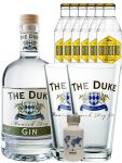 Gin-Set The Duke München Dry BIO Gin 0,7 Liter + Nordes Atlantic Gin 0,05 Liter Miniatur + 6 Goldberg Tonic Water 0,2 Liter + 2 x The Duke Long Drink Glas 0,3 Liter