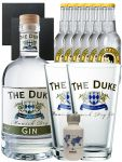 Gin-Set The Duke München Dry BIO Gin 0,7 Liter + Nordes Atlantic Gin 0,05 Liter Miniatur + 6 Thomas Henry Tonic Water 0,2 Liter + 2 Schieferuntersetzer quadratisch 9,5 cm + 2 x The Duke Long Drink Glas 0,3 Liter