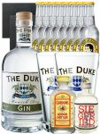 Gin-Set The Duke München Dry BIO Gin 0,7 Liter + Siegfried Dry Gin Deutschland 4cl + Gordons Dry Gin 5 cl + 8 Thomas Henry Tonic Water 0,2 Liter + 2 Schieferuntersetzer quadratisch 9,5 cm + 2 x The Duke Long Drink Glas 0,3 Liter