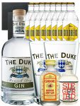 Gin-Set The Duke München Dry BIO Gin 0,7 Liter + Siegfried Dry Gin Deutschland 4cl + Gordons Dry Gin 5 cl + 8 x Goldberg Tonic Water 0,2 Liter + 2 Schieferuntersetzer quadratisch 9,5 cm + 2 x The Duke Long Drink Glas 0,3 Liter