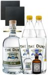 Gin-Set The Duke München Dry BIO Gin 0,7 Liter + The Duke Gin 5cl + Monkey 47 Schwarzwald Dry Gin 5 cl MINIATUR + 2 x Goldberg Tonic Water 1,0 Liter + 2 Schieferuntersetzer quadratisch 9,5 cm + 2 x The Duke Long Drink Glas 0,3 Liter
