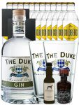 Gin-Set The Duke München Dry BIO Gin 0,7 Liter + Windspiel Dry Gin 0,04 Liter + Filliers Dry Gin 0,05 Liter, 12 x Goldberg Tonic Water 0,2 Liter + 2 Schieferuntersetzer quadratisch 9,5 cm + 2 x The Duke Long Drink Glas 0,3 Liter