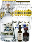 Gin-Set The Duke München Dry BIO Gin 0,7 Liter + Windspiel Dry Gin 0,04 Liter + Filliers Dry Gin 0,05 Liter, 6 x Thomas Henry Tonic Water 0,2 Liter, 6 x Goldberg Tonic Water 0,2 Liter + 2 x The Duke Long Drink Glas 0,3 Liter